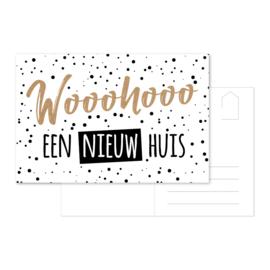 Ansichtkaart 'Wooohooo een nieuw huis'