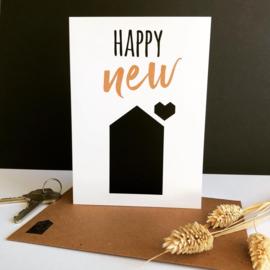 Dubbele wenskaart met envelop 'Happy New House'