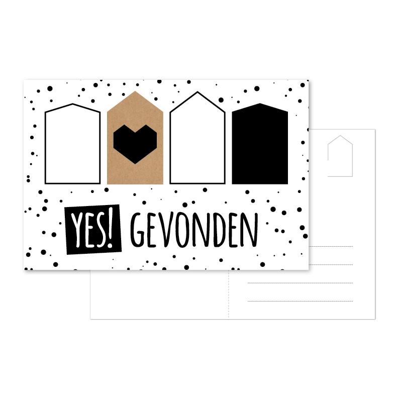 Ansichtkaart 'Yes! Gevonden'