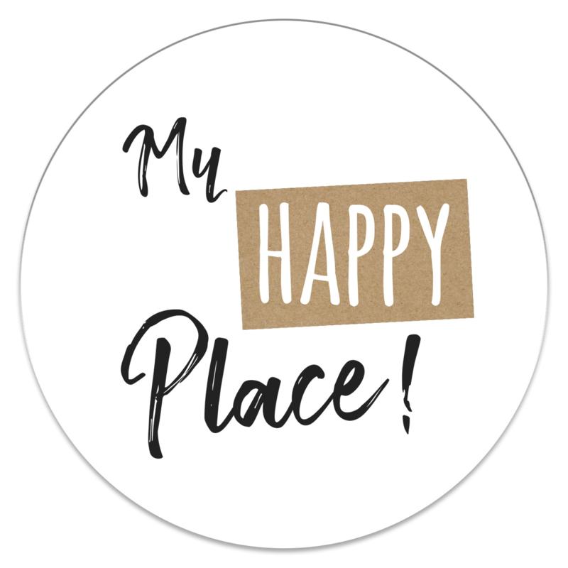 Muurcirkel 'My HAPPY Place'   35cm