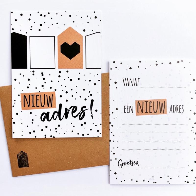 Set van 5 verhuiskaarten met envelop 'Nieuw adres!'