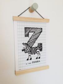 Dierenposter letter Z is van zebra