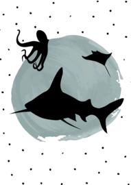 Poster blauwe stip met dierensilhouetten
