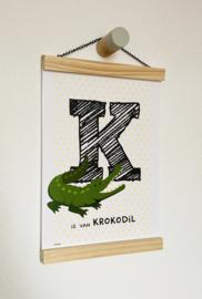 Dierenposter letter K is van krokodil (geel)
