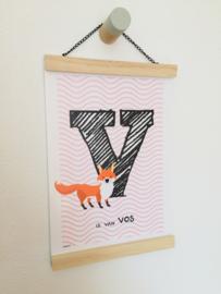 Dierenposter letter V is van vos