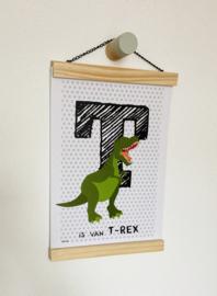 Dierenposter letter T is van t-rex