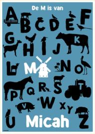 ABC poster boerderij dieren (div. kleuren)