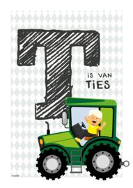 Gepersonaliseerde letterposter (groengrijze wieber)