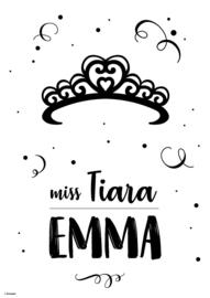Naamposter monochroom Miss Tiara