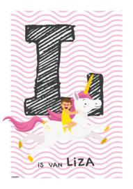 Gepersonaliseerde letterposter (roze golfje)
