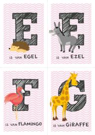 Dierenposter letter (roze golfje)