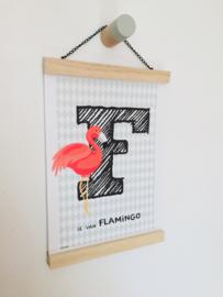 Dierenposter letter F is van flamingo (groen)