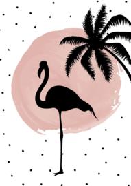 Poster roze stip met dierensilhouetten