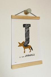 Dierenposter letter J is van jakhals