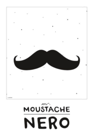 Naamposter monochroom  Mr. Moustache