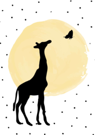 Poster gele stip met dierensilhouetten