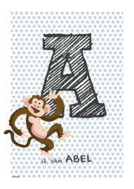Gepersonaliseerde dierenposter letter (petrol stip)