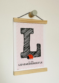 Dierenposter letter L is van lieveheersbeestje