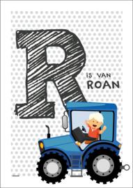 Gepersonaliseerde letterposter (blauwgrijze stip)