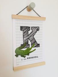 Dierenposter letter K is van krokodil (groen)