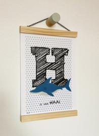Dierenposter letter H is van haai