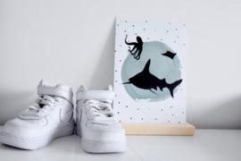 Mini-poster blauwe stip met dierensilhouetten