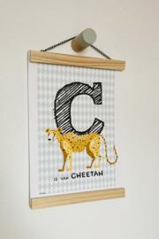 Dierenposter letter C is van cheetah