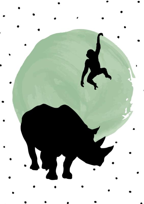 Poster groene stip met dierensilhouetten