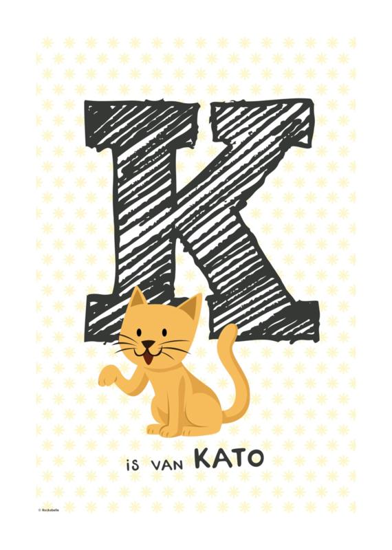 Gepersonaliseerde dierenposter letter (gele ster)