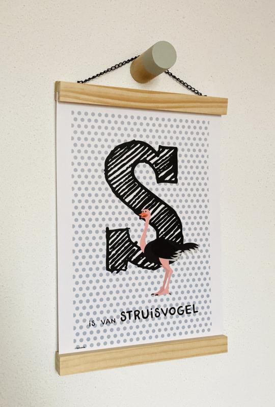 Dierenposter letter S is van struisvogel