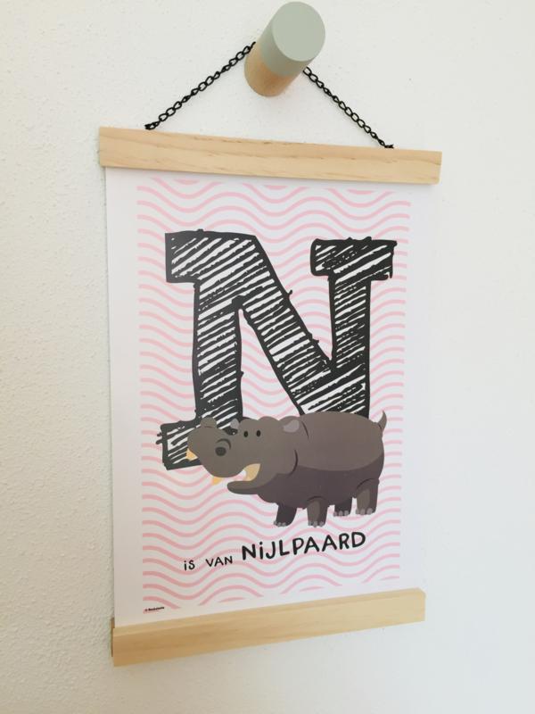 Dierenposter letter N is van nijlpaard