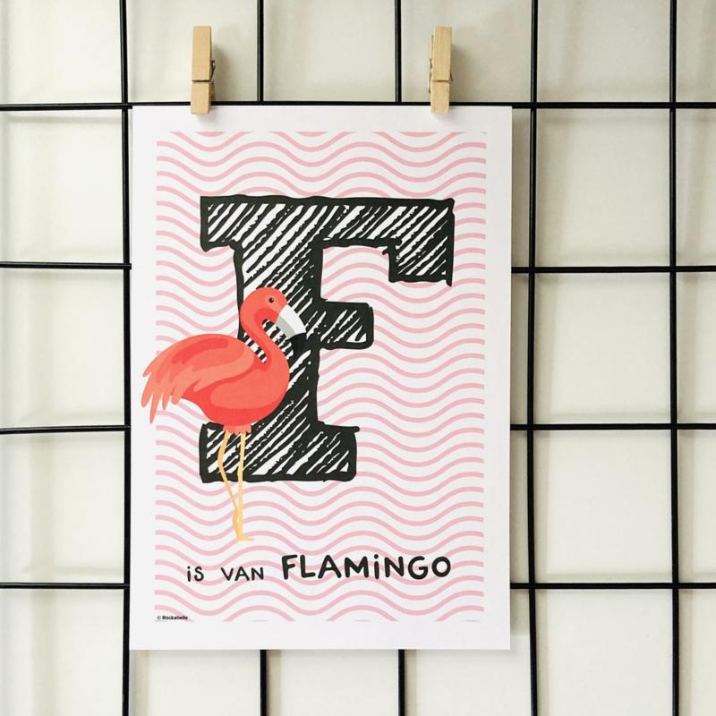 Dierenposter F is van Flamingo (roze)