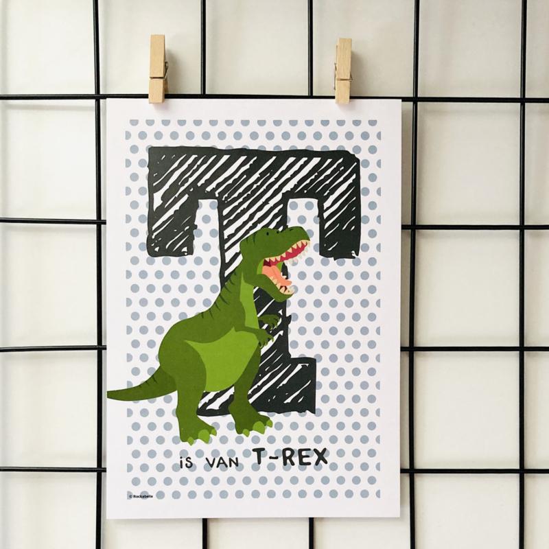 Dierenposter T is van t-rex