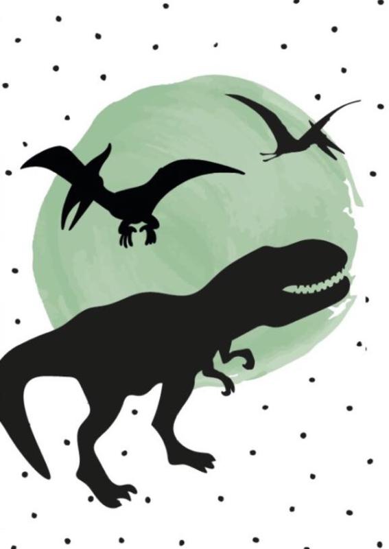 Poster groene stip met silhouetten dino's