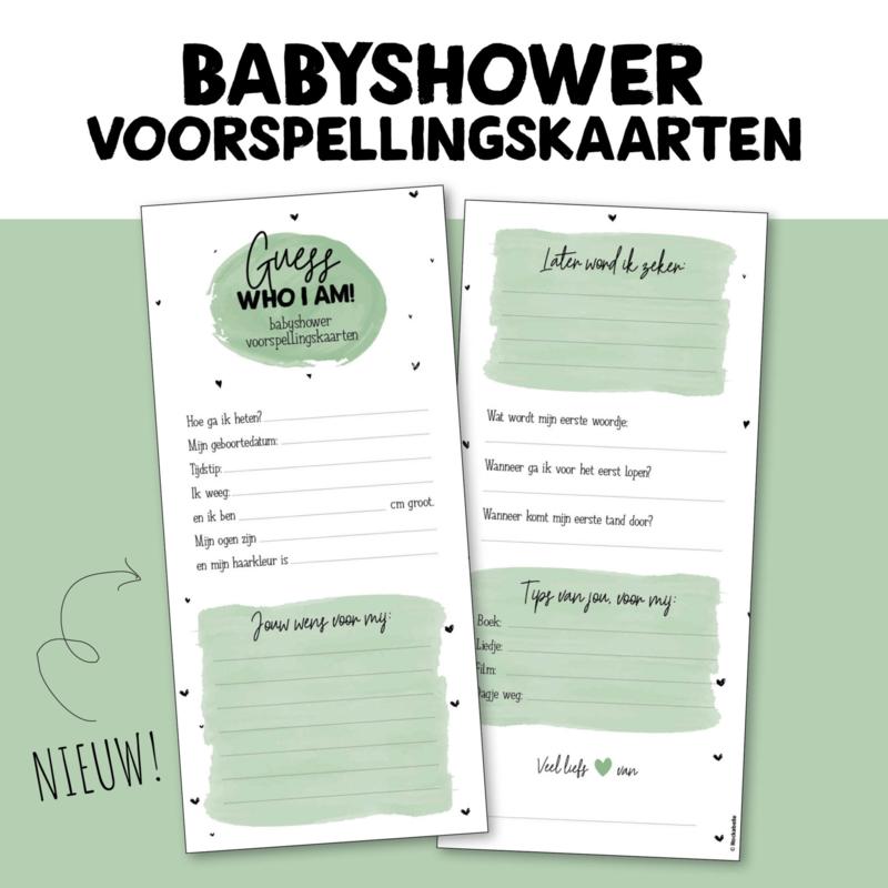 Babyshower voorspellingskaarten (groen of roze)