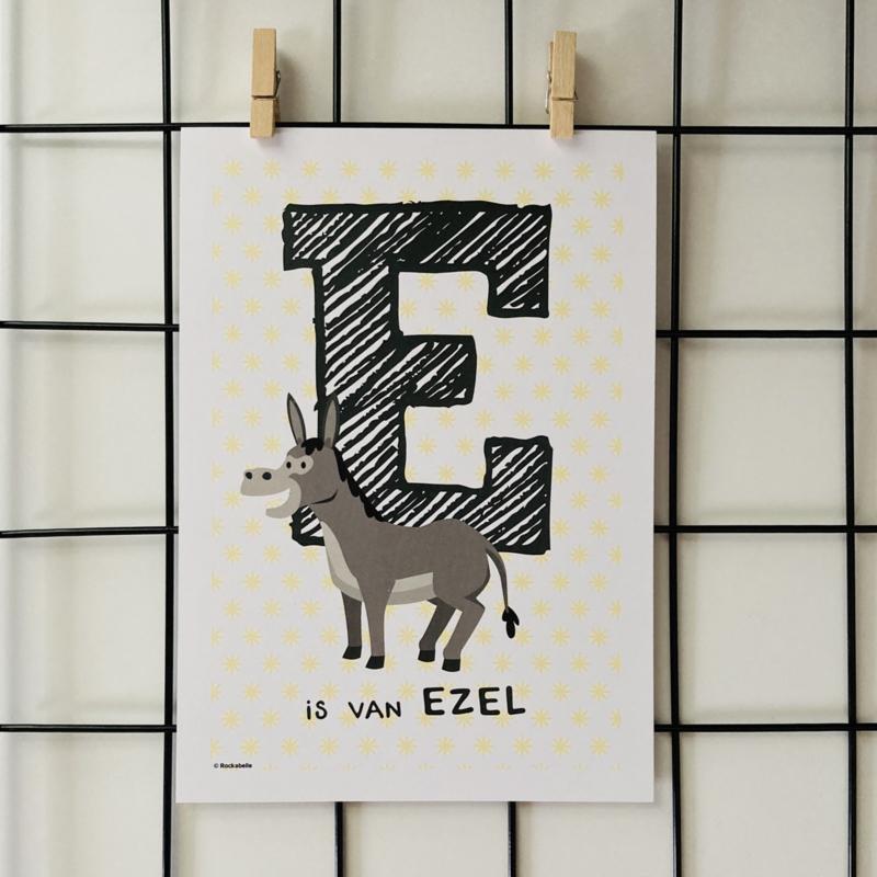 Dierenposter E is van ezel