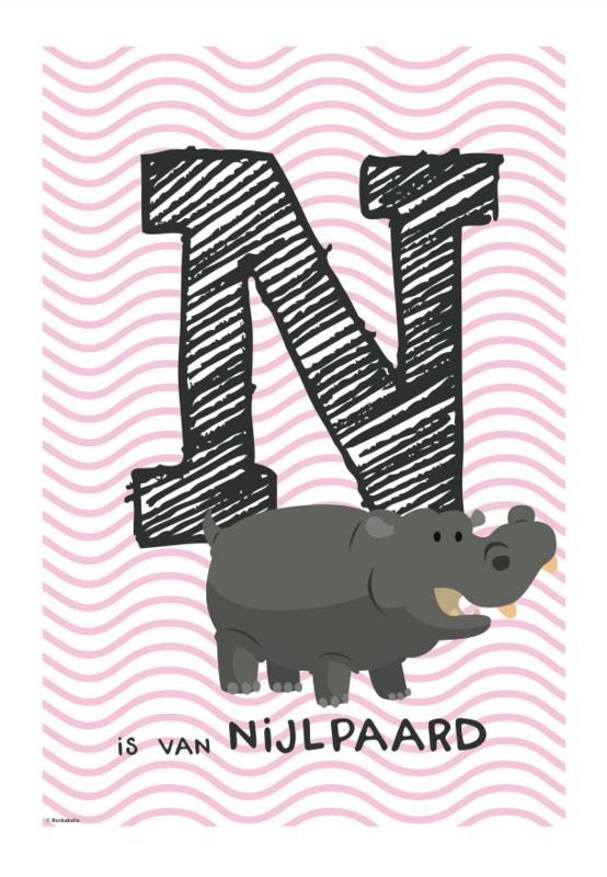 Dierenkaart letter (roze golfje)