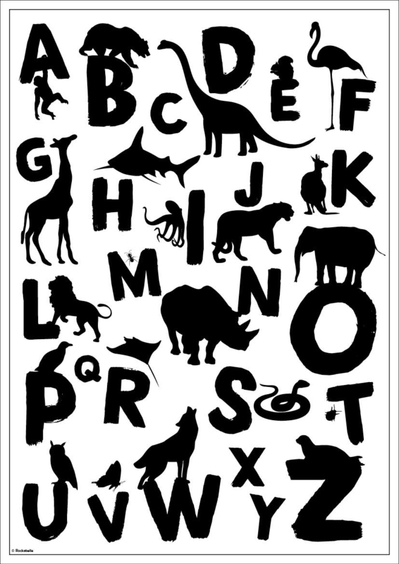 ABC poster silhouetten dieren (div. kleuren)
