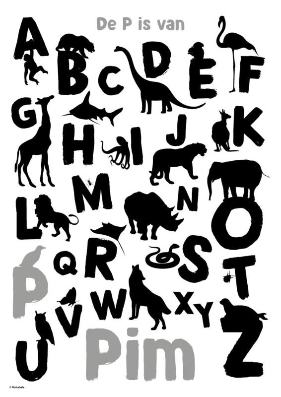 ABC poster silhouetten dieren (grijs of roze)