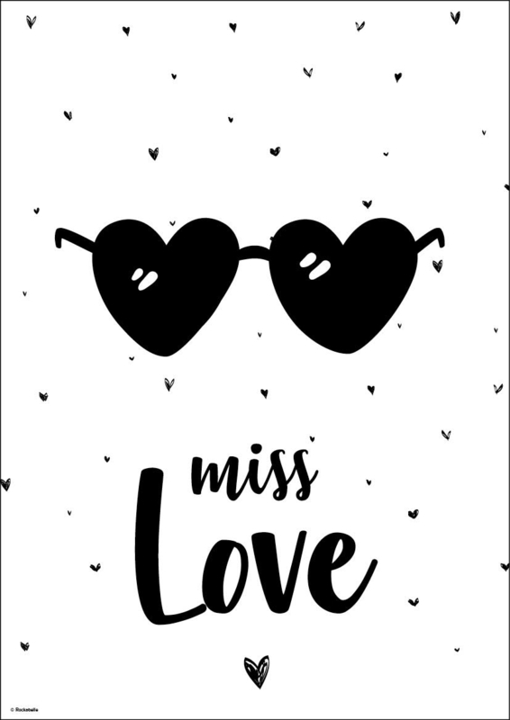 Poster monochroom Miss Love