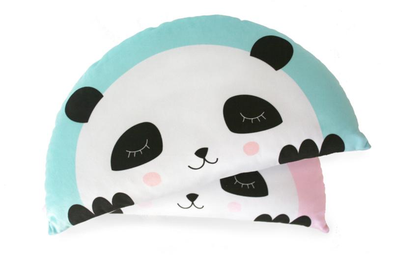Kussen panda mint-blauw