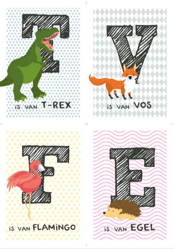 Kaartenset 4 dierenkaarten (zelf samenstellen)