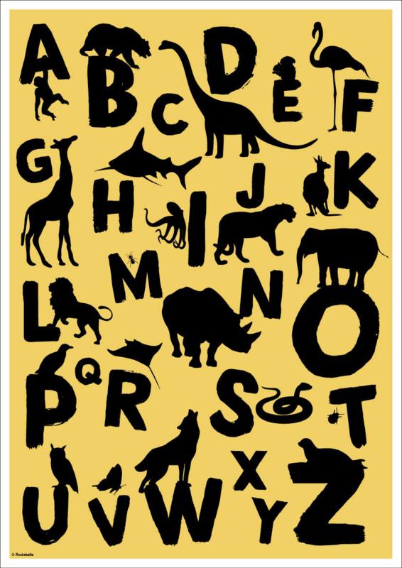ABC poster silhouetten dieren