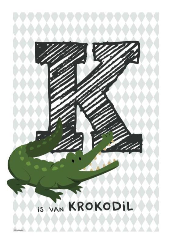 Dierenposter letter (groengrijze wieber)