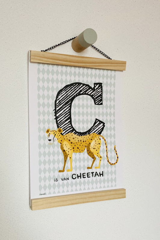 Dierenposter letter C is van cheetah