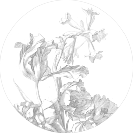Behangcirkel Engraved Flowers XL