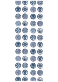 Patroonbehang Royal Blue Plates - 97,4 x 280 cm - KEK Amsterdam