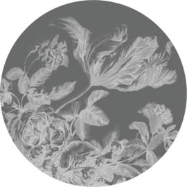 Behangcirkel Engraved Flowers, ø 190 cm
