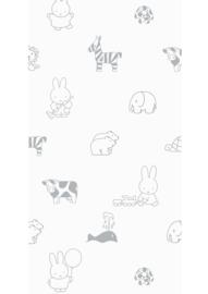Kek Amsterdam - Behang Miffy Animals Grey