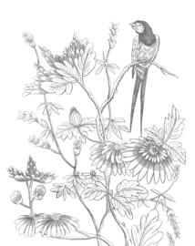 Behangpaneel Engraved Flowers